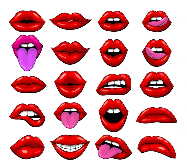 Set of red female lips