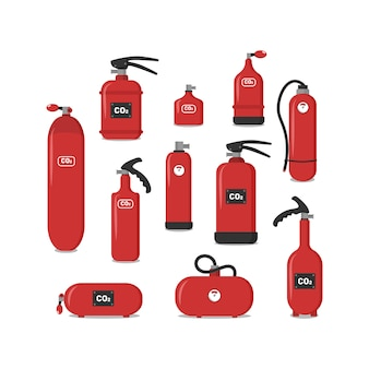 Set of red fire extinguishers, icons - safety symbol - protection equipment - emergency sign. fire extinguisher of various types to ensure the safety of the building, which would protect people.