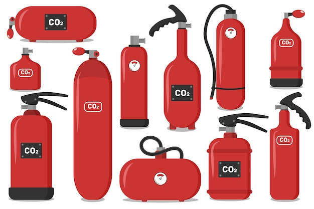 Set of red fire extinguishers, icons - safety symbol - protection equipment - emergency sign.