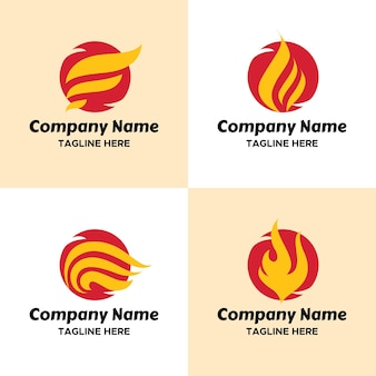 Set of red fireball with yellow wings logo template for company in sporty look