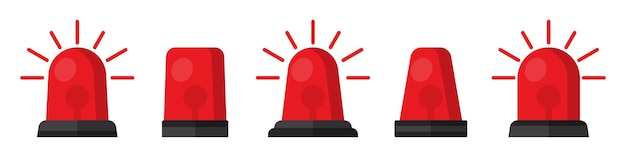 Set of red flasher siren in a flat design