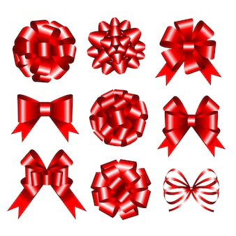Set of red gift bows.  illustration.