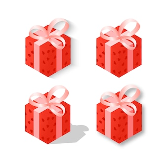 Set red gift isometry on valentine's day