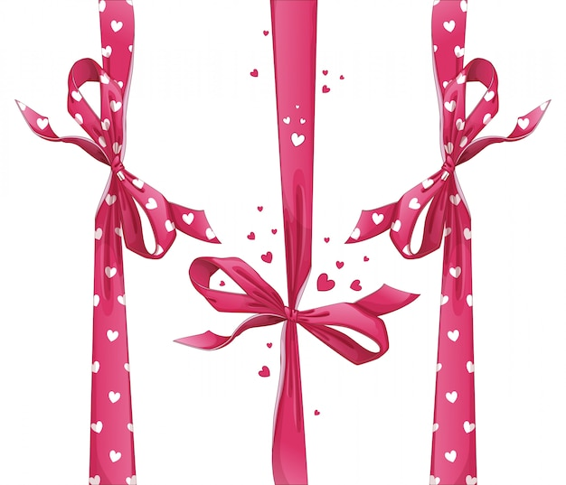 Set of red gift ribbons with bows. heart pattern.