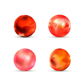 Set of red glossy marble balls with glare on white