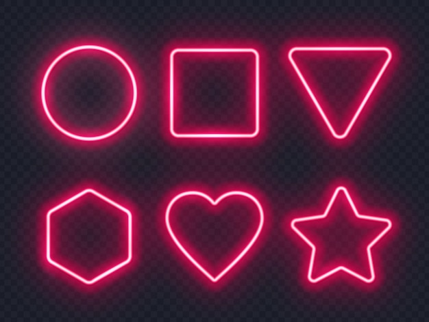 Set of red glowing neon frames