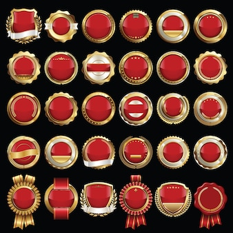 Set of red and gold certificate seals and badges