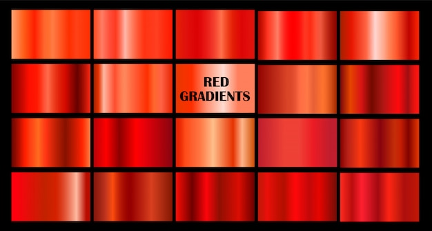Set of red gradients