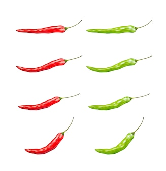 Set of red and green chilli  on a white background