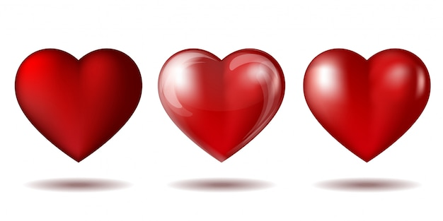 Set of red heart icon isolated on white.