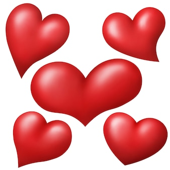 Set of red hearts isolated over white background.