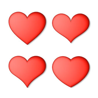 Set of red hearts