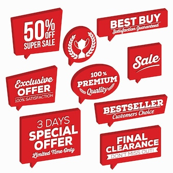 Set of red isometric speech bubbles set of retail tags