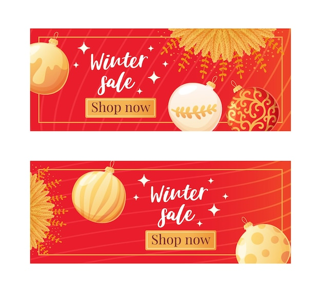 Set of red luxury christmas banners with gold balls and sparkles in realistic cartoon style