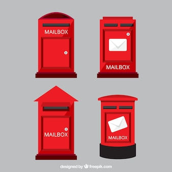 Set of red mailboxes