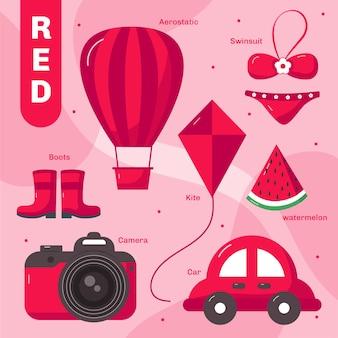 Insieme di oggetti rossi e parole del vocabolario in inglese