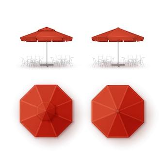 Set of red patio outdoor beach cafe umbrella