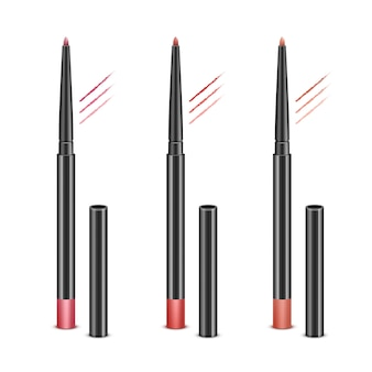 Set of red pink cosmetic makeup lip liner pencils with without caps and sample strokes isolated