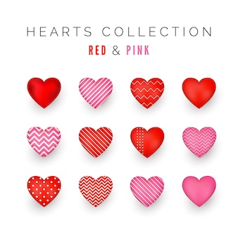 Set of red and pink decorative hearts with shadow