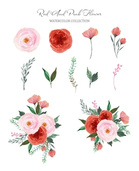 Set of red pink individual and bouquet watercolor flowers