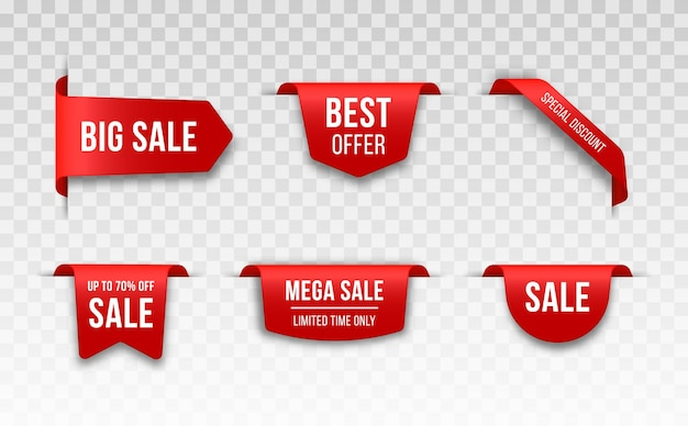 Set of red price tags
