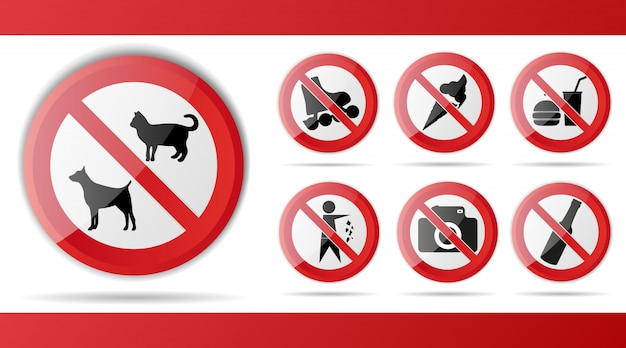 Set of red prohibition sign