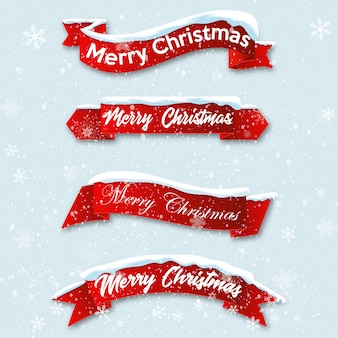 Set red realistic curved ribbon merry christmas