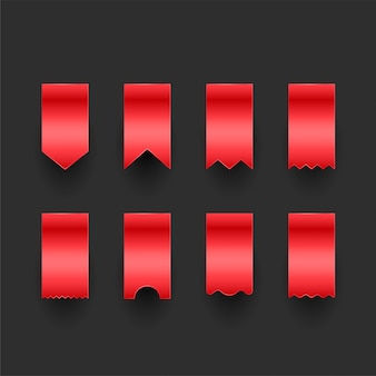 Set of red ribbon tags