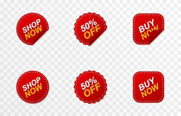 Set of red ribbons price tags discounts