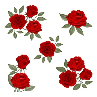 Set of red roses compositions