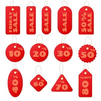 Set of red round and square sale price tags and lables isolated
