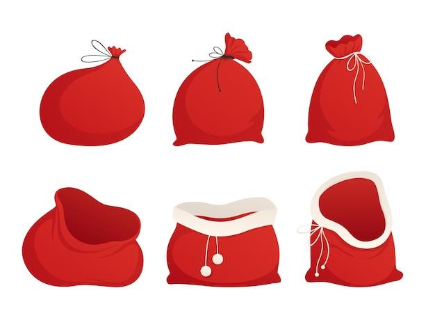 サンタの赤い袋を設定します。縛られて空。図。白い背景で隔離