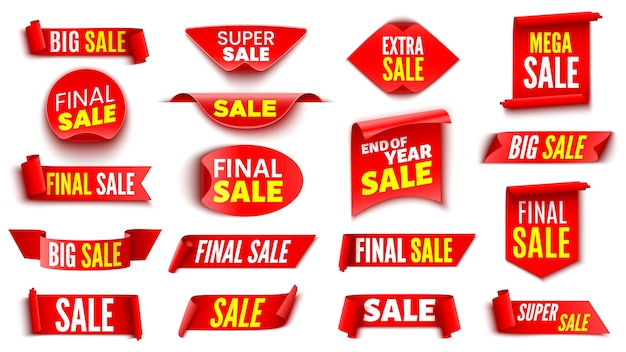 Set of red sale banners . ribbons and stickers.