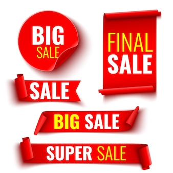 Set of red sale banners. ribbons and stickers.