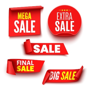 Set of red sale banners on white background