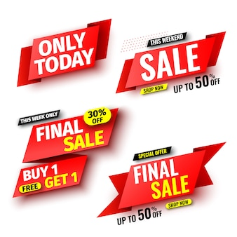 Set of red sale banners.