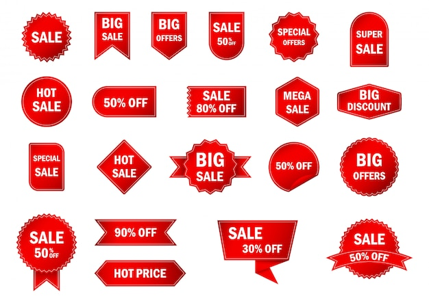 Set of red sale tags and labels.