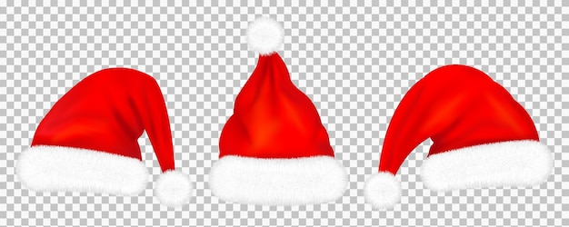 Set of red santa claus hats with fur  on transparent background.  illustration