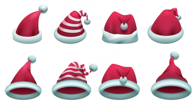 Set red santa hat isolated on white