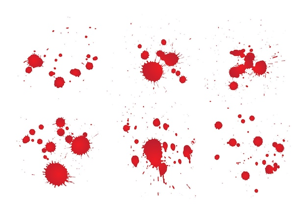 Set of red splatters