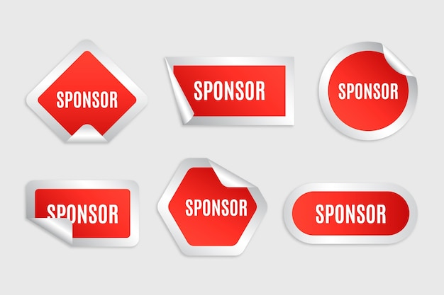 Set of red sponsor stickers