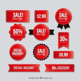 Set di adesivi rossi per vendite super
