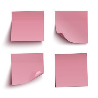 Set of red sticky notes.   illustration.