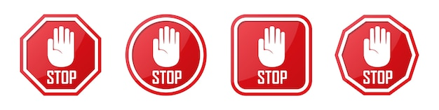 Set of red stop hand sign in different shapes