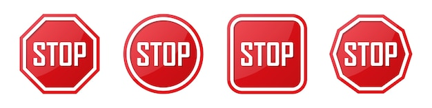 Set of red stop sign in different shapes