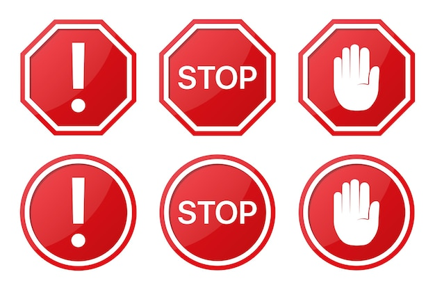 Set of red stop sign with arrow, word and hand