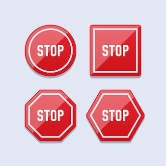 Set of red stop sign