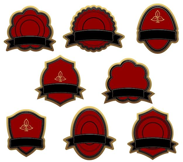 Set of red vintage labels