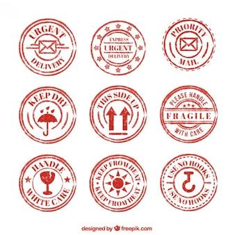 Set of red vintage prevention seals