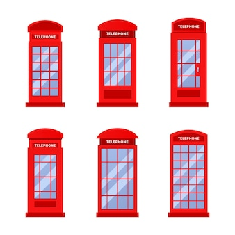 Set of red vintage telephone booth logo design template